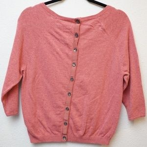 Boden Button Back Sweater Top 3/4 sleeve Pink Sz 6